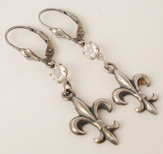 Sterling silver fleur de lis earrings with open bezel Czech crystal and sterling lever back hooks