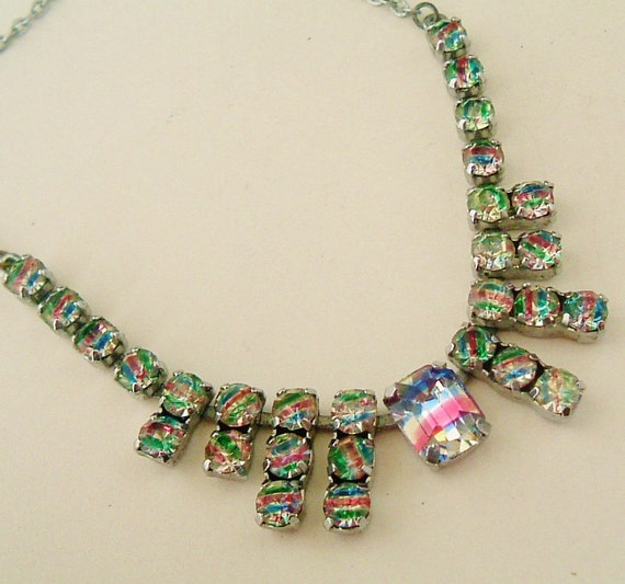 RESERVED for SHIRLEY Art Deco Czech Iris rainbow glass necklace