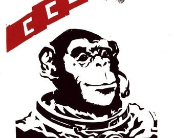 Soviet Space Monkey screenprint