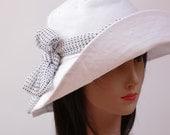 White Summer Linen Hat with Wide Brim