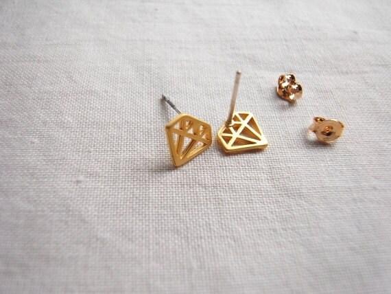 Diamond shaped earring ,gold stud earrings.