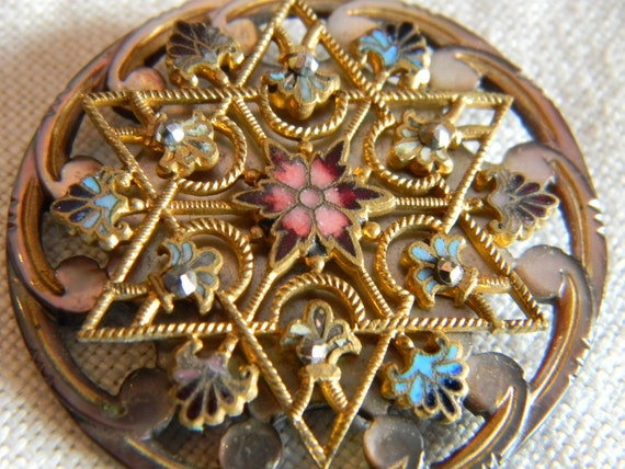 Large Vintage Victorian Star of David Button
