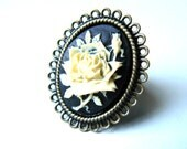 Cameo Ring, Victorian Cameo on Black Gothic Victorian Jewelry by pennyfarthingdesigns on Etsy