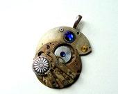 Steampunk Pendant, Steampunk Watch Pendant, Cobalt Blue Pendant Sapphire OOAK Gothic Steampunk Jewelry by pennyfarthingdesigns on Etsy