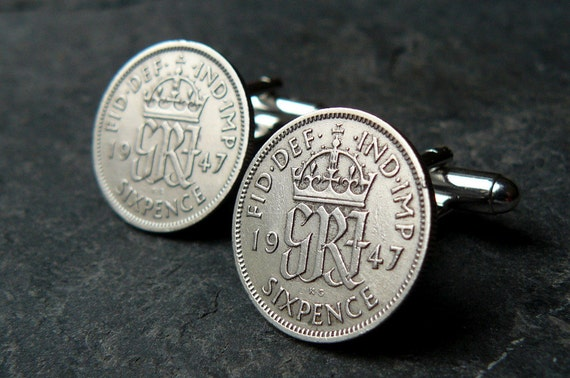 Silver Cufflinks 65th Birthday 1947 Vintage Sixpence Unisex OOAK Steampunk  Silver Jewelry by pennyfarthingdesigns on Etsy