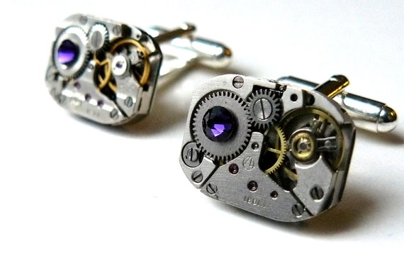 Steampunk Cufflinks Steampunk Watch Cufflinks Purple Cufflinks Industrial Cufflinks Steampunk Accessories by pennyfarthingdesigns on Etsy