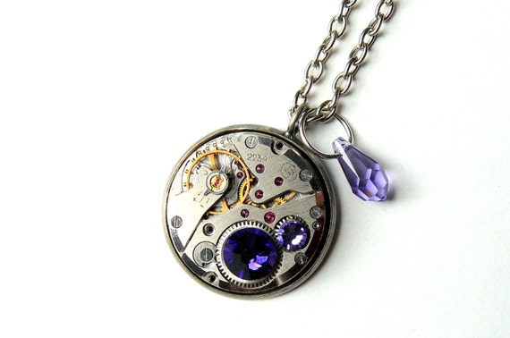 Steampunk Necklace Vintage Watch Royal Purple Crystals Gothic Steampunk Jewelry by pennyfarthingdesigns on Etsy