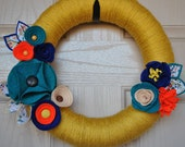 Mustard-Orange-Blue Felt Wreath
