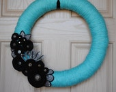 Black and Blue Felt Yarn Wreath