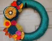 Teal-Yellow-Orange Yarn Wreath
