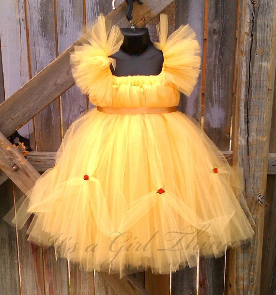 Yellow Belle Inspired Tutu Dress WITH Ruffle Sleeves - Child Size