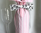 Wine Bottle Sleeve - Pink White Stripe with Black Pink Flowers Bow Tie - Upcycle Gift Bag - Free US Shipping