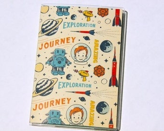 PASSPORT COVER - Rocket Boy. Passport Holder, Passport Case, Travel Wallet, Document Holder, Space Age, Travel Gift Idea, Stocking Stuffer