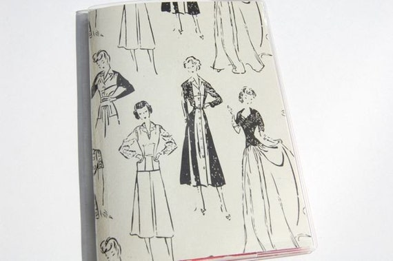 PASSPORT COVER - Black and Cream Vintage Fashion Sketches
