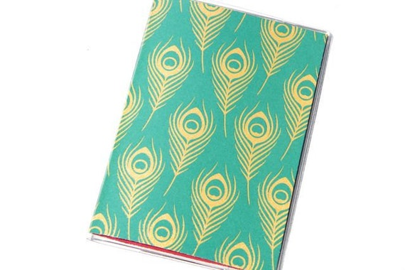 PASSPORT COVER - Gold Peacock Feathers