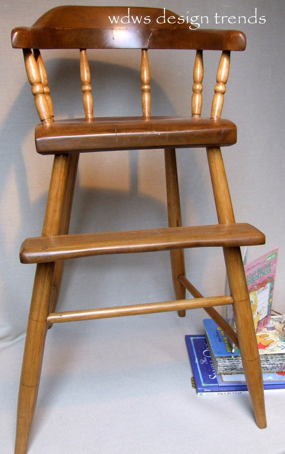 Antique Wooden Childs High Chair By Wdwsdesigntrends On Etsy