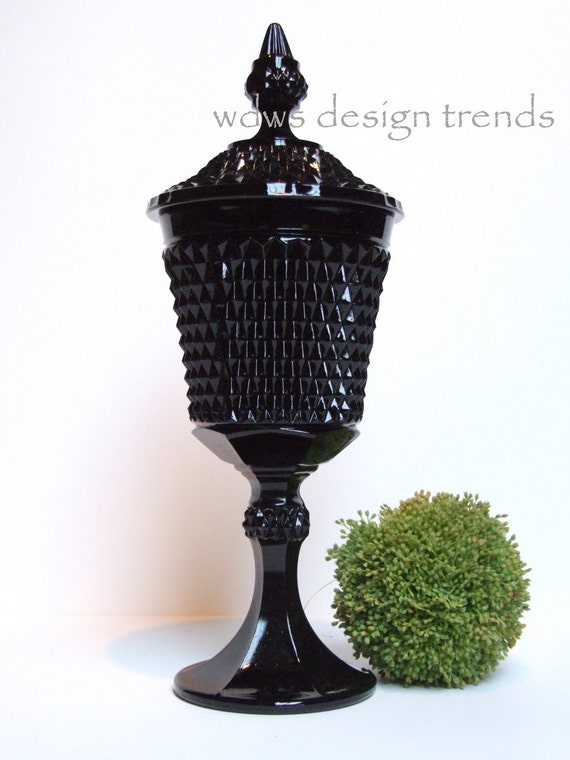 Reserved For Allison Black Tiara Glassware Urn By Wdwsdesigntrends