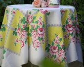 FaB cHiC Vintage tablecloth-- yellow pink and red roses and floral