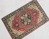 Miniature Victorian or Edwardian Rug in Three Sizes For Dollhouse or Playscale