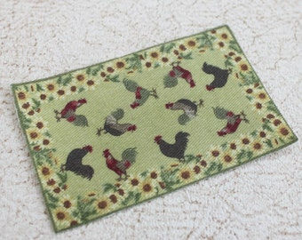 Miniature Dollhouse Rug Sunflowers and Roosters in Dollhouse or Playscale Sizes