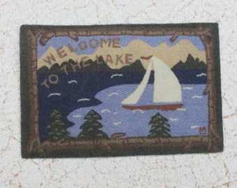 Miniature Rug Welcome To The Lake  in 1:12 Scale