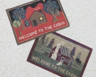 Miniature Welcome To The Cabin Dollhouse Rug Choice of One
