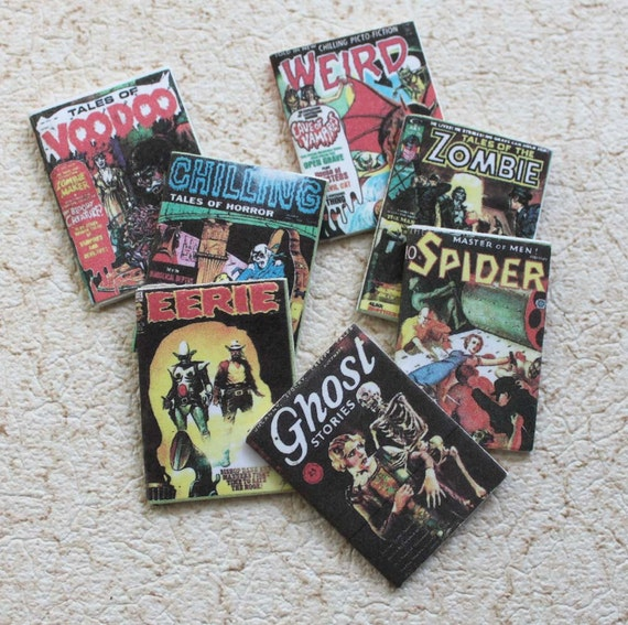 Spooky Miniature Dollhouse Magazines 1:12 Or Playscale Ghost