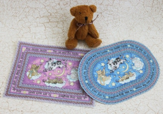 Dollhouse Nursery Rug Miniature Pink Blue Or Yellow One Twelfth Scale