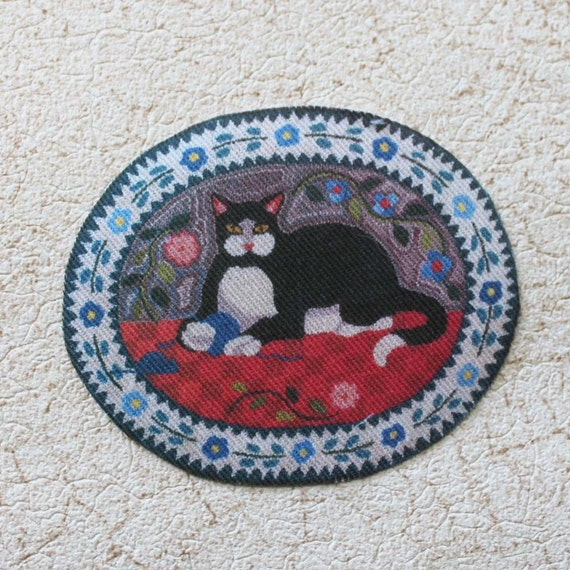Dollhouse Miniature Rug Black White Cat On Pillow By