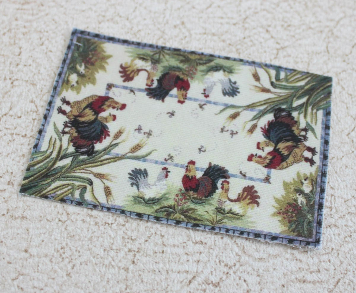Dollhouse Miniature Rug French Country Roosters One Twelfth