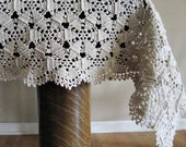 Vintage Hand Crochet Ecru Tablecloth or Throw