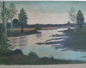 Unframed  Oil Painting  of Landscape / Waterscape - Very Old