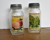 Vintage Quart Patterned Jars w / Seed Packet Prints Set
