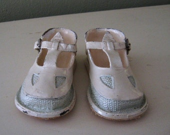 Baby Shoes in Cream and Light Aqua - Preserved