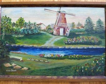 Vintage Windmill and Tulip Painting on Masonite