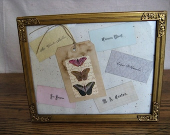 Victorian Calling Card Framed Picture / Assemblage