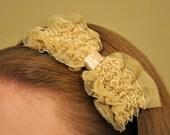 Beige Lace Bow Headband