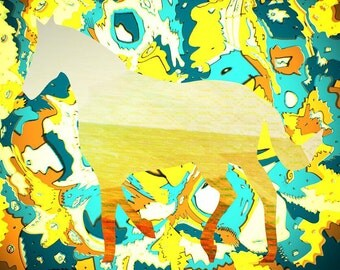 Sunburst Horse Collaboration - 14x11 Lovely, Fun, Modern, Abstract, Design, Bright, Colorful, Unique, Affordable, Art Print