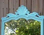 BLACK FRIDAY SALE 50% off---Vintage ornate scallop Mirror in Aqua- nautical, beach, baroque