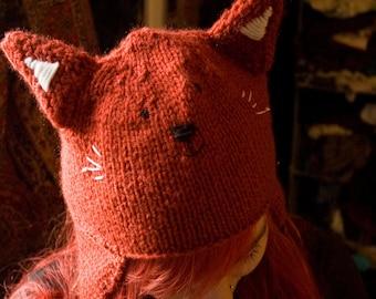 Knitted Fox Ear Flap Hat