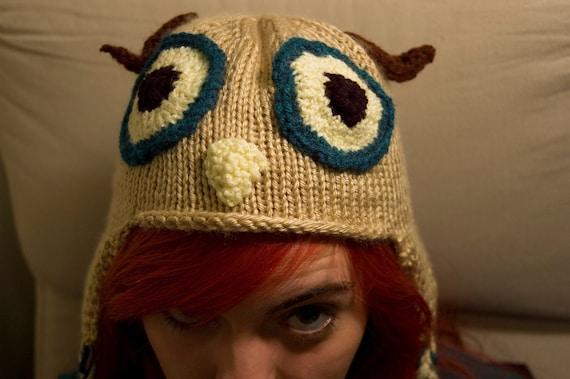 Knitted Owl Ear Flap Hat