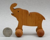 Elephant on Wheels, Wooden Toy, Animal Party Favor for Kid's Parties Children Boys Girls, Birthday Present Wood Zoo Animal Nontoxic Waldorf