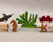 Sea Animal Set for Children Wooden Animal Blocks Organic Gifts for Kids Boys Girls Waldorf Montessori Toys Stocking Stuffer