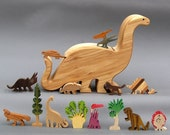 Dinosaur Story Box  Wooden Toy for Jurassic Park Kids Organic Waldorf Brontosaurus gift for kids, boys and girls nontoxic Wood Wooden Gift