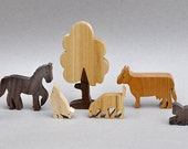 Farm Animal Play Set Wooden Block Toys for Children Kids Toddlers Girl Boys Wooden Toy Farm Horse Dog Cat Kitten Chicken Sheep Cow Goat Tree