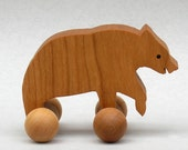 Bear Toy on Wheels Wooden Block Animals for Children Woodland Party Favor for Kids Wilderness Animal for Boys Girls Birthday Present Grizzly