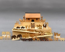Miniature Noah's Ark with  60 Animals Handmade from 16 Different Woods Wooden Noahs Ark Sunday Toy Wooden Noahs Arc Waldorf Gift