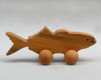 Cod Fish on Wheels, Wooden Waldorf Block Animal, Handmade Party Favor Ocean Animal Wooden ToyMontessori Wood Toy Boys, Girls, Kids, Children