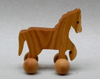 Wooden Horse on Wheels Waldorf Farm Animal Holiday Stockings Toy Childrens Party Favor Wooden Pocket Animal