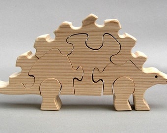 Wooden Stegosaurus Puzzle Organic Dinosaurs for Kids, Boys and Girls Waldorf Childrens Play Wood Birthday Present handcrafted in USA